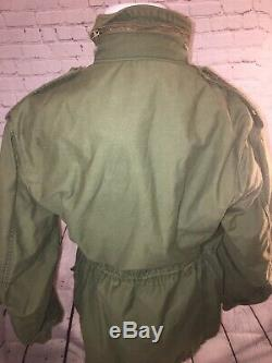 70s Cold Weather Coat Military Field Alpha M-65 Jacket Sz M Med Reg Scovill 1974