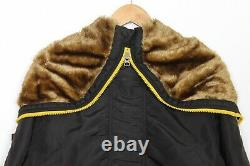 ALPHA INDUSTRIES LKZ 10014 Fur Hooded Padded Bomber Jacket Men Size M MJ1991