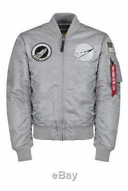 ALPHA INDUSTRIES MA-1 VF NASA Astronaut Flight Jacket Silver