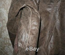 ALPHA INDUSTRIES Mens Bomber Injector III Brown Leather Winter Jacket Size M