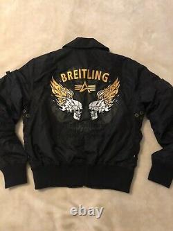 AUTHENTIC BREITLING ALPHA Industries Black'Air Race' Jacket Sz M-Fire Skulls