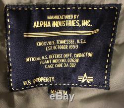 Alpha Ind. US Flying mans Heavy N-2B Flight Parka Jacket Bomber Fur Hood Medium