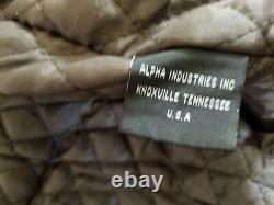 Alpha Indistries Dark Brown Leather Bomber Jacket Size M