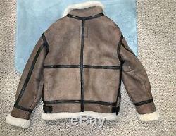 Alpha Industries B3 Flight Bomber Jacket Sheepskin Leather Authentic Size M