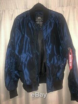 Alpha Industries Bomber Jacket Blue. Size Medium