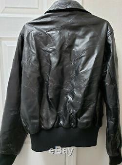 Alpha Industries Cage Code 3A382 Black Leather Jacket size Medium