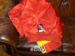Alpha Industries Commander RED MA-1 Blood Chit Flight Jacket Large MJM21300C1
