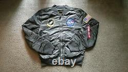 Alpha Industries Gunmetal Grey GRAY Bomber flight Jacket L-2B NASA Large L