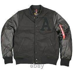 Alpha Industries Herren Authentic College Jacket Baseballjacke Schwarz 6396
