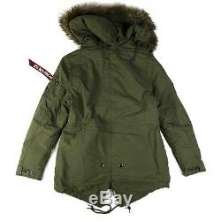 Alpha Industries J-4 Fishtail Parka Jacket Olive Green Fur Hood Camo Medium NWT