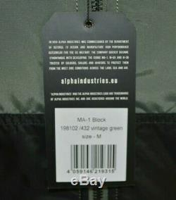 Alpha Industries MA-1 Block 60th Anniversary Jacket VintageGreen Size M RRP £165