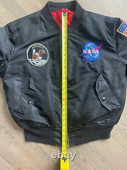 Alpha Industries MA-1 NASA Apollo Flight Bomber Jacket Black Red Mens Medium