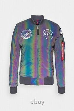 Alpha Industries MA-1 NASA Rainbow Reflective Bomber Jacket 128112RR/572