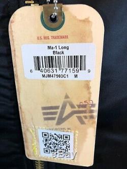 Alpha Industries MA-1 Parka Flight Long Jacket. Remove Before Flight Medium