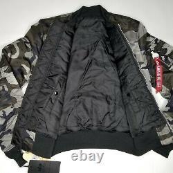 Alpha Industries MA-1 Slim Fit Flight Jacket Mens SZ Tonal Black Camo Reversible
