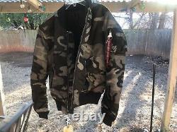 Alpha Industries MA-1 Slim Fit Men Flight Bomber Jacket Tonal Black Camo Size M