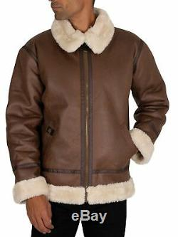 Alpha Industries Men's B3 Flight Jacket, Brown