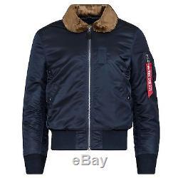 Alpha Industries Men's B-15 Slim Fit Flight Jacket Replica Blue Brown Fur