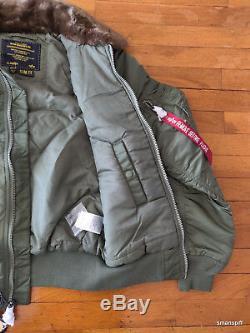 Alpha Industries Men's B-15 Slim Fit Sage Faux Fur Nylon Bomber Flight Jacket