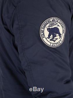 Alpha Industries Men's Fur Hooded Polar Jacket, Blue