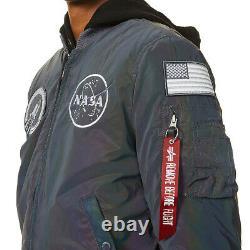 Alpha Industries Men's Ma-1 Nasa Rainbow Reflective Bomber Jacket In Reflective