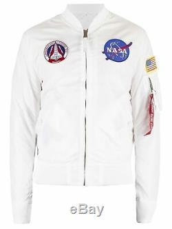 Alpha Industries Men's NASA Reversible Bomber Jacket, White