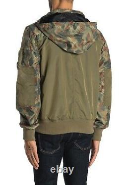 Alpha Industries Men's Vintage Olive/Camo Compound Flight Utility Hooded Jacket