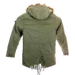 Alpha Industries Mens J-4 Fishtail Parka Jacket Olive Green Fur Hood Size Medium