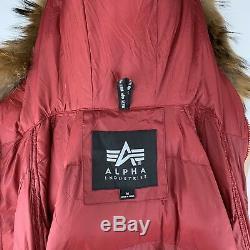 Alpha Industries Mens Med N-3B Echo Elite Raccoon Fur Hooded Puffer Parka Jacket