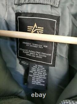 Alpha Industries Mens N-2B Jacket Sz Medium Grey Bomber Coat MA-1 Hooded Rare