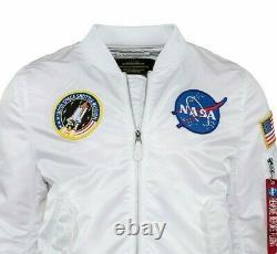 Alpha Industries Military Army MA1 NASA American Flag Flight Bomber Pilot Jacket