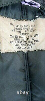Alpha Industries Military Parka Jacket N-2B Mens Med Hood Flying Vintage 1966