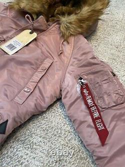 Alpha Industries N3B VF 59 Parka Coat Silver Pink Size Medium RRP $225