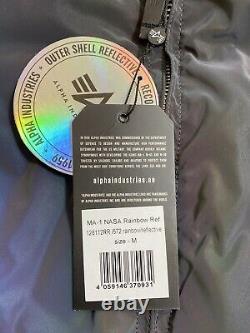 Alpha Industries NASA Bomber Jacket Rainbow Reflective Size M