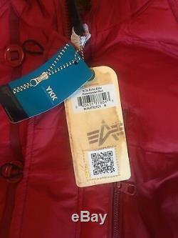 Alpha Industries N-3B Echo Elite Red Winter Jacket Fur Hood Trim Mens Sz Med