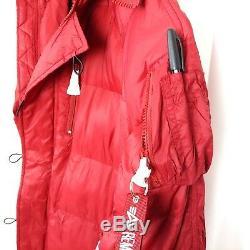Alpha Industries N-3B Echo Elite Red Winter Jacket Fur Trim Hood Women Sz Medium