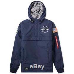 Alpha Industries Nasa Anorak Jacket Replica Blue Rrp £200.00