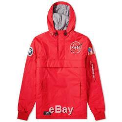 Alpha Industries Nasa Anorak Jacket Speed Red Rrp £200.00