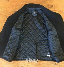 Alpha Industries Pea Coat Black Double Breasted Men's Medium