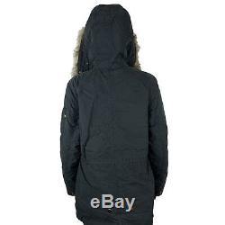 Alpha Industries Womens J-4 Fishtail Puffer Anorak Jacket Black Medium Regular