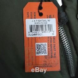 Alpha Industries Womens J-4 Fishtail Puffer Anorak Jacket SZ M-65 Olive Green