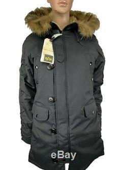 Alpha Industries Womens N-3B Altitude Slim Fit Parka Jacket Size Medium Black