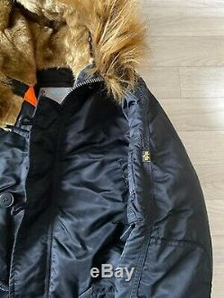 Alpha industries Coat parka Jacket Black Military Fur Hood Coat MEDIUM New