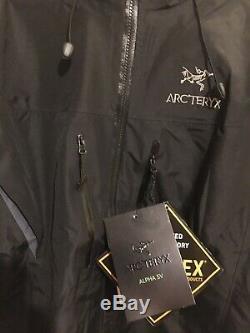 ArcTeryx Alpha SV Mens Black Medium Jacket NWT, Made In Canada, MSRP $750 NR