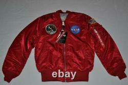 Authentic Alpha Industries Mens Apollo Ma-1 Flight Jacket Black Red Brand New