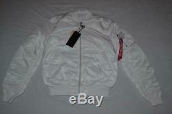 Authentic Alpha Industries Mens Ma-1 Slim Fit Flight Jacket White M Medium New