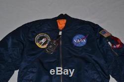 Authentic Alpha Industries Mens Nasa Ma-1 Flight Jacket Navy Blue M Medium New