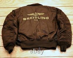Breitling Alpha Industries Pilot Bomber Leather Jacket Size M