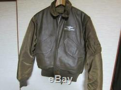 Breitling & Alpha Leather Blouson Bomber Jacket Brown Size M Japan Free Shipping