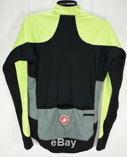 Castelli Rosso Corsa Alpha Windstopper Jacket Cycling All weather Sz M High Viz